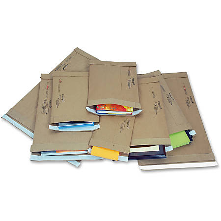 "Jiffy Mailer Jiffy Padded Mailers - Multipurpose - #2 - 8 1/2"" Width x 12"" Length - Flap - Kraft - 100 / Carton - Natural Kraft, Satin Gold"