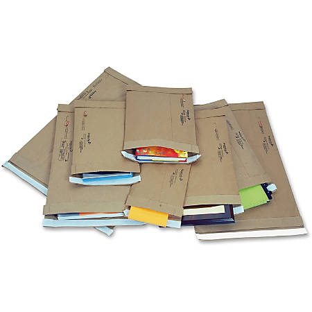 "Jiffy Mailer Jiffy Padded Mailers - Multipurpose - #5 - 10 1/2"" Width x 16"" Length - Flap - Kraft - 100 / Carton - Natural Kraft, Satin Gold"