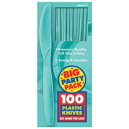 "Amscan Big Party Pack Midweight Plastic Knives, 7-1/2"", Robin's Egg Blue, 100 Knives Per Box, Pack Of 2 Boxes"