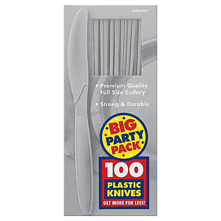 "Amscan Big Party Pack Midweight Plastic Knives, 7-1/2"", Silver, 100 Knives Per Box, Pack Of 2 Boxes"
