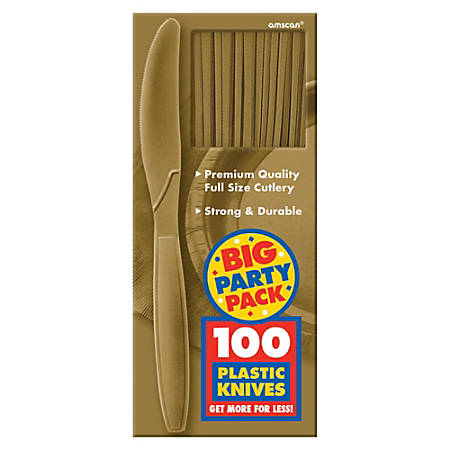 "Amscan Big Party Pack Midweight Plastic Knives, 7-1/2"", Gold, 100 Knives Per Box, Pack Of 2 Boxes"