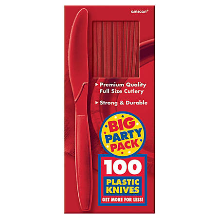 """Amscan Big Party Pack Midweight Plastic Knives, 7-1/2"""", Red, 100 Knives Per Box, Pack Of 2 Boxes"""