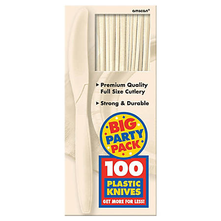 "Amscan Big Party Pack Midweight Plastic Knives, 7-1/2"", Vanilla Crème, 100 Knives Per Box, Pack Of 2 Boxes"