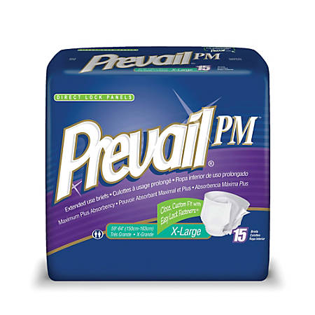"""Prevail® PM Extended Wear Adult Briefs, X-Large, 59""""-64"""", Seafoam, Box Of 15"""