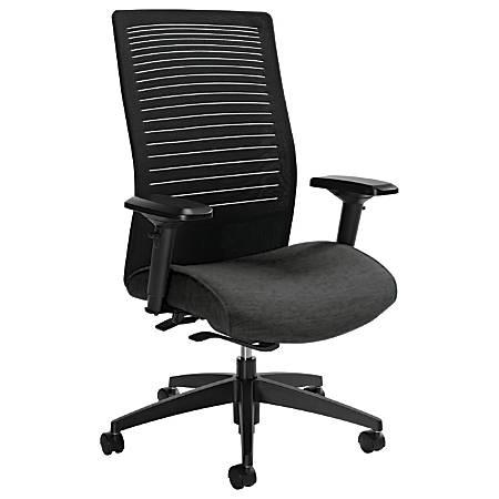 "Global® Loover High-Back Weight-Sensing Synchro Chair, 42""H x 25 1/2""W x 24""D, Granite Rock/Black"