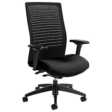 "Global® Loover High-Back Weight-Sensing Synchro Chair, 42""H x 25 1/2""W x 24""D, Black Coal/Black"