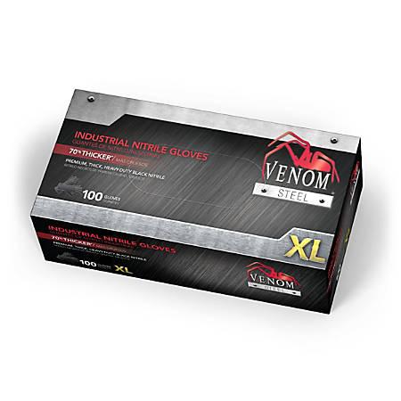 Medline Venom Steel Nitrile Industrial Gloves, X-Large, Black, Pack Of 1,000