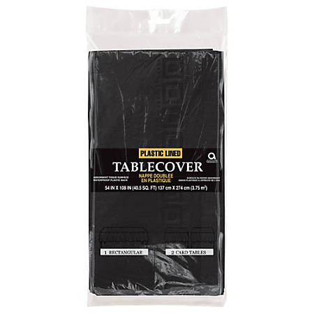 """Amscan Plastic Table Covers, 108"""" x 54"""", Jet Black, Pack Of 4 Table Covers"""