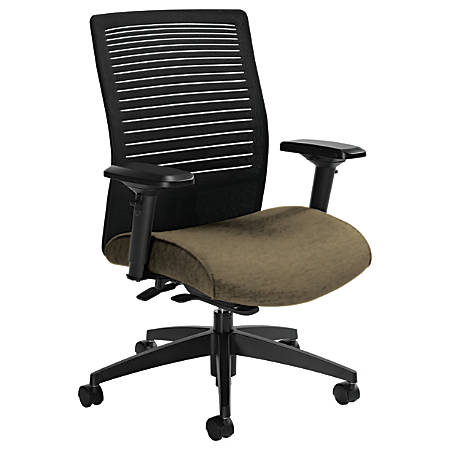 """Global® Loover Mid-Back Weight-Sensing Synchro Chair, 39""""H x 25 1/2""""W x 24""""D, Beach Day/Black"""
