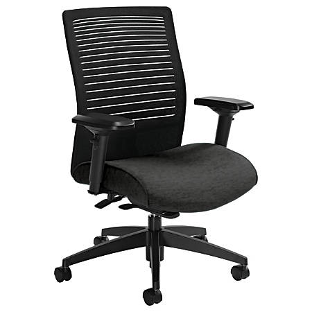 "Global® Loover Mid-Back Weight-Sensing Synchro Chair, 39""H x 25 1/2""W x 24""D, Granite Rock/Black"