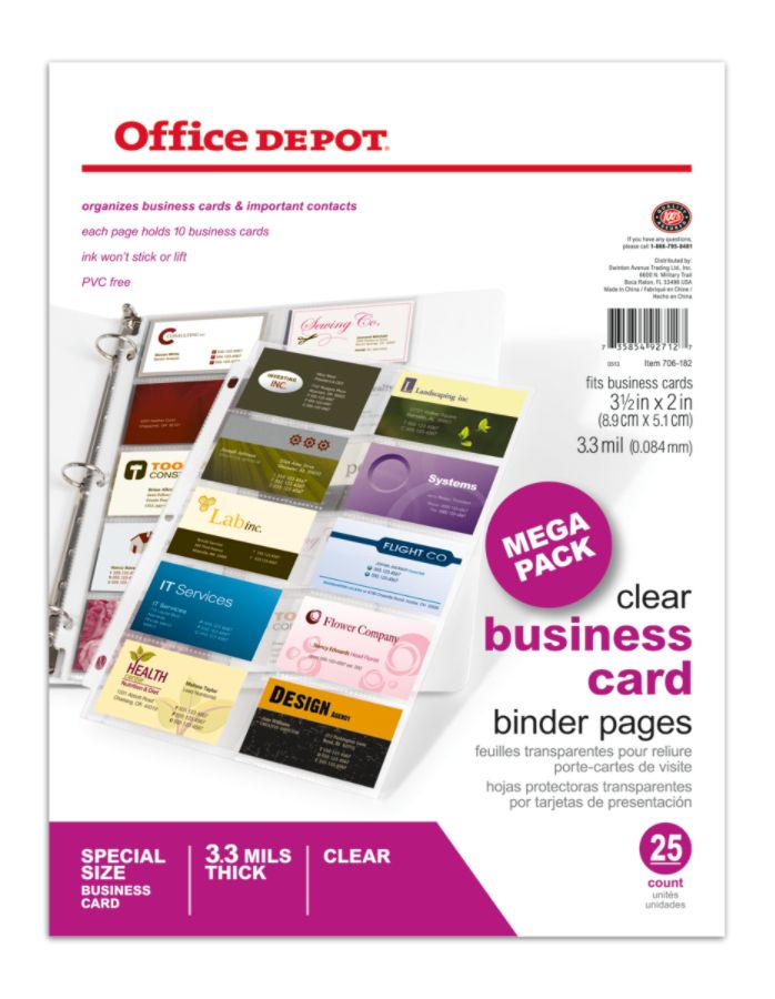 Office Depot Brand Business Card Binder Pages 8 12 x 11 Clear Pack