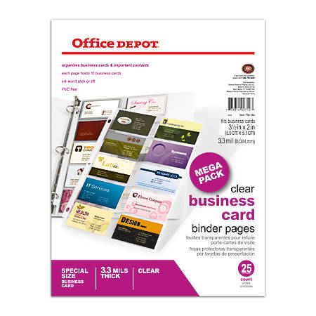 Office depot brand business card binder pages 8 12 x 11 clear pack office depot brand business card binder colourmoves