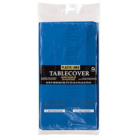 """Amscan Plastic Table Covers, 108"""" x 54"""", Royal Blue, Pack Of 4 Table Covers"""