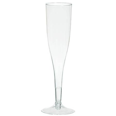 Amscan Plastic Champagne Flutes, 5.5 Oz, Clear, 20 Flutes Per Pack, Case Of 2 Packs