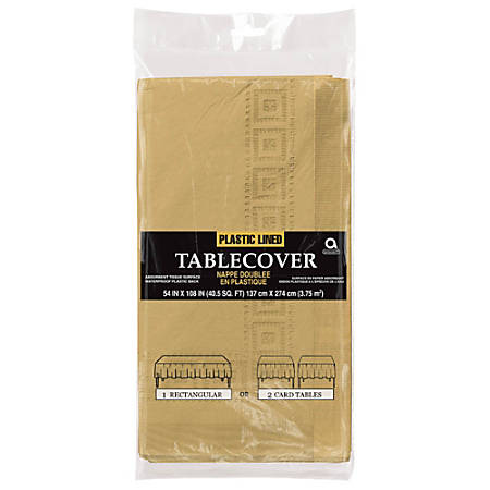 "Amscan Plastic Table Covers, 108"" x 54"", Gold, Pack Of 4 Table Covers"
