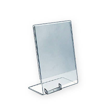 "Azar Displays L-Shaped Acrylic Sign Holders With Attached Business Card Pockets, 11"" x 8 1/2"", Clear, Pack Of 10"