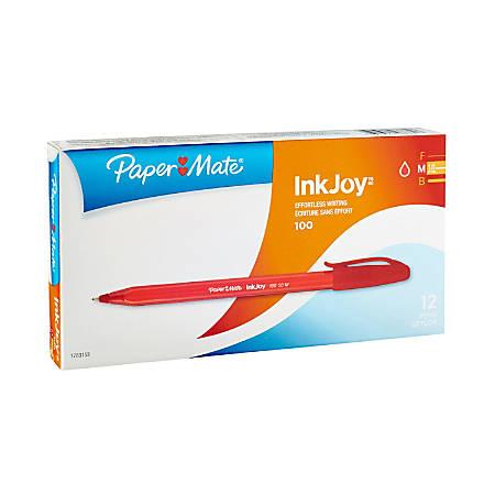 Paper Mate® InkJoy 100 Stick Pens, Medium Point, 1.0 mm, Translucent Red Barrels, Red Ink, Pack Of 12 Pens