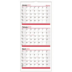 """Office Depot® Brand 3-Month Reference Wall Calendar, 27"""" x 12"""", Black/Red, January to December 2019"""
