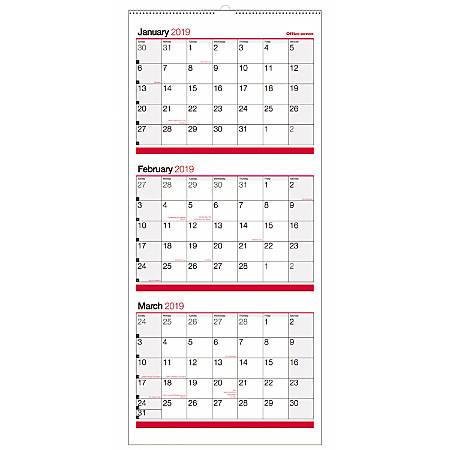 "Office Depot® Brand 3-Month Reference Wall Calendar, 27"" x 12"", Black/Red, January to December 2019"