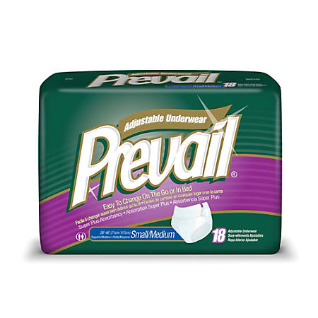 "Prevail® Protective Underwear-Adjustable, Sm-Md, 28""-46"", Green, Box Of 18"