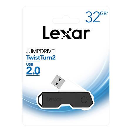 Lexar® JumpDrive® TwistTurn2 USB 2.0 Flash Drive, 32GB, Black, LJDTT2-32GABNABK