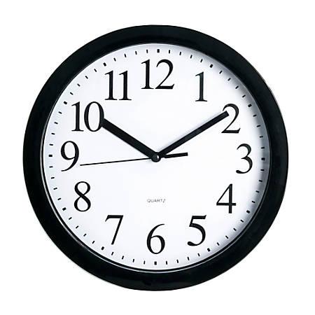 """Realspace® Round Quartz Analog Wall Clock, 9""""D, Black"""