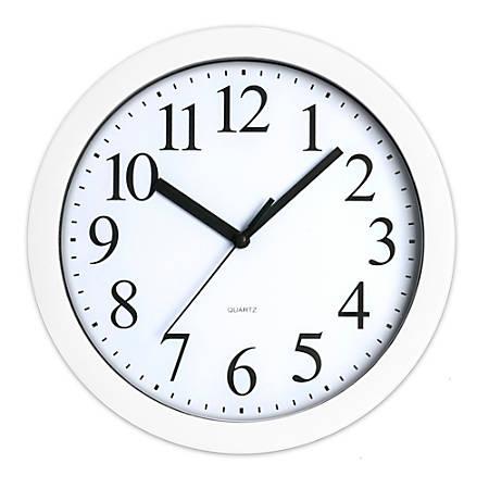 "Realspace® Round Quartz Analog Wall Clock, 9"", White"