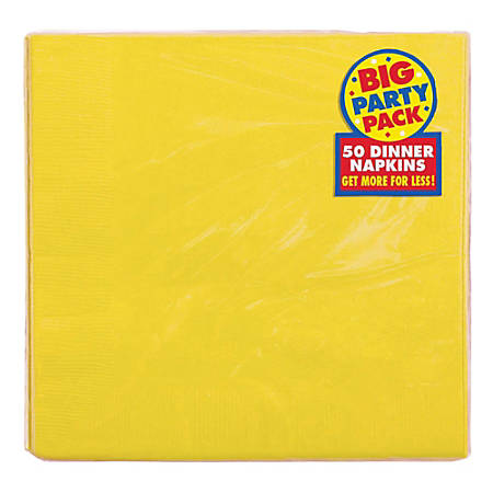 "Amscan 2-Ply Paper Dinner Napkins, 7-3/4"" x 7-3/4"", Sunshine Yellow, 50 Napkins Per Pack, Set Of 2 Packs"