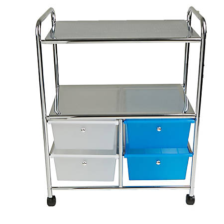 Mind Reader All-Purpose 2-Shelf Metal Utility Cart With 4 Drawers, Silver