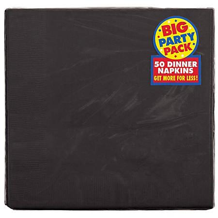 "Amscan 2-Ply Paper Dinner Napkins, 7-3/4"" x 7-3/4"", Jet Black, 50 Napkins Per Pack, Set Of 2 Packs"