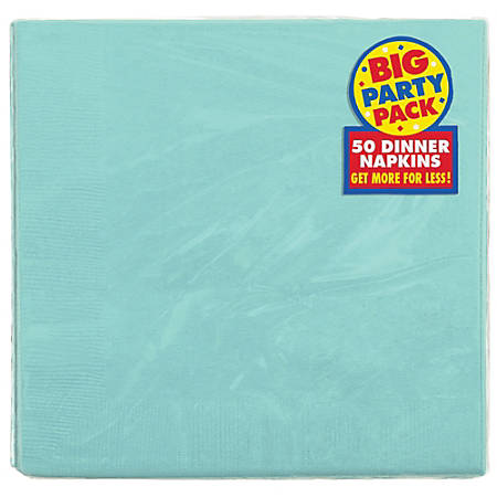 "Amscan 2-Ply Paper Dinner Napkins, 7-3/4"" x 7-3/4"", Robin's Egg Blue, 50 Napkins Per Pack, Set Of 2 Packs"