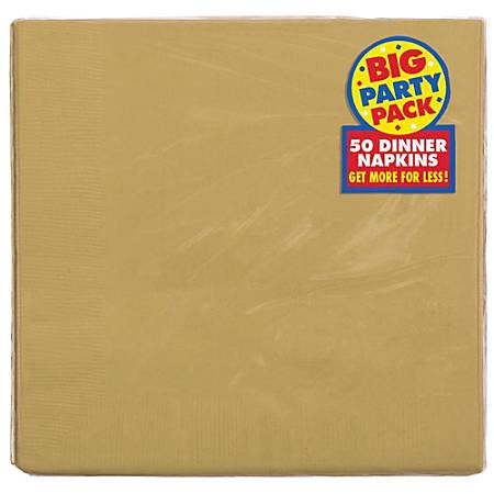 "Amscan 2-Ply Paper Dinner Napkins, 7-3/4"" x 7-3/4"", Gold, 50 Napkins Per Pack, Set Of 2 Packs"
