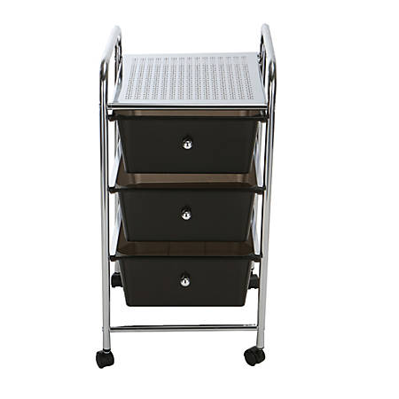 Mind Reader 3-Drawer Metal All-Purpose Rolling Utility Cart, Black