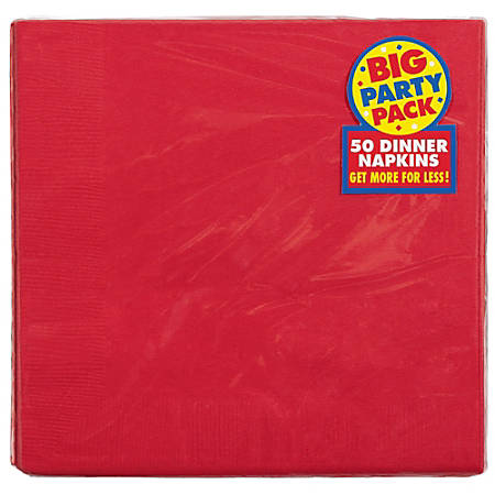 "Amscan 2-Ply Paper Dinner Napkins, 7-3/4"" x 7-3/4"", Red, 50 Napkins Per Pack, Set Of 2 Packs"
