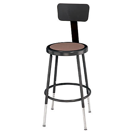 "National Public Seating Adjustable Hardboard Stool With Back, 32 - 41 1/2""H, Black"