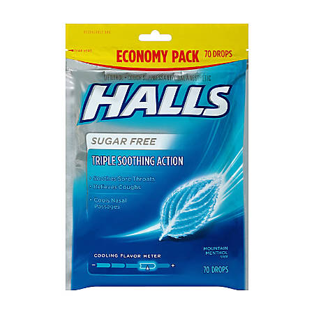 Halls Sugar-Free Menthol Cough Drops, 70 Drops Per Bag, Pack Of 2 Bags