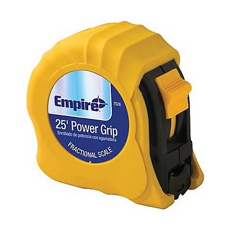 "Empire Power Grip Tape Measure, SAE, 25' x 1"" Blade"