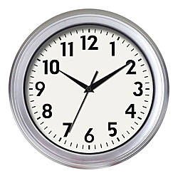 Realspace Brushed Plastic Quartz Wall Clock