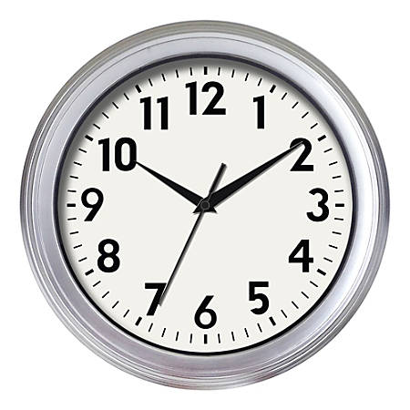 "Realspace® Brushed Plastic Quartz Wall Clock, 14"", Silver"