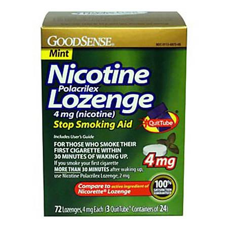 GoodSense® Nicotine Polacrilex Lozenge, 4mg (Nicotine), Box Of 72