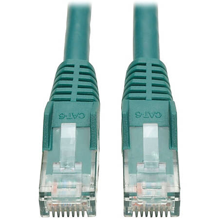 Tripp Lite 15ft Cat6 Gigabit Snagless Molded Patch Cable RJ45 M/M Green 15' - 15 ft Category 6 Network Cable for Network Device - First End: 1 x RJ-45 Male Network - Second End: 1 x RJ-45 Male Network - Patch Cable - Green