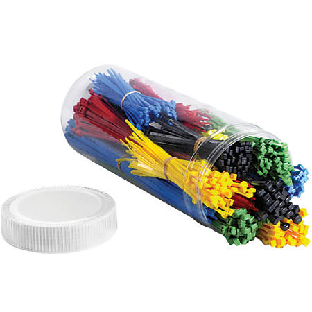 Office Depot® Brand 1,000-Piece Cable Tie Kit, Assorted Sizes, Assorted Colors