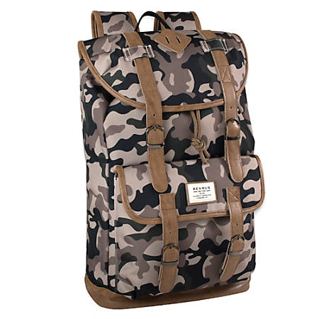 """Trailmaker Buckled Backpack With 17"""" Laptop Pocket, Camo Green/Brown"""