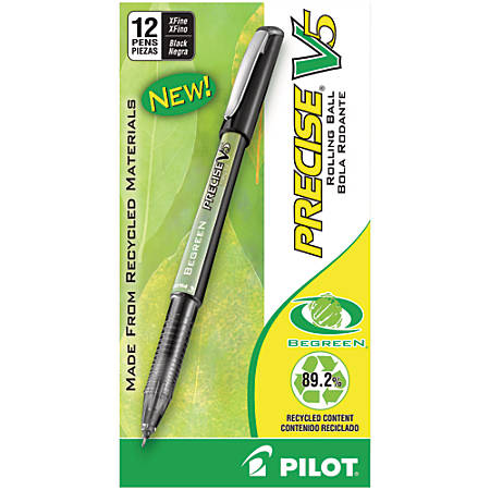 Pilot® V5 BeGreen Liquid Ink Rollerball Pens, Extra Fine Point, 0.5 mm, 89% Recycled, Black Barrel, Black Ink, Pack Of 12