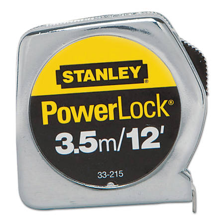 """Stanley Tools Powerlock Die Cast Tape Measure, 12' x 1/2"""" Blade"""