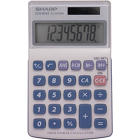 "Sharp Calculators EL-240SAB 8-Digit Handheld Calculator - 3-Key Memory, Sign Change, Auto Power Off - 8 Digits - LCD - Battery/Solar Powered - 1 - LR1130 - 0.7"" x 2.8"" x 4.6"" - Gray, Blue - 1 Each"