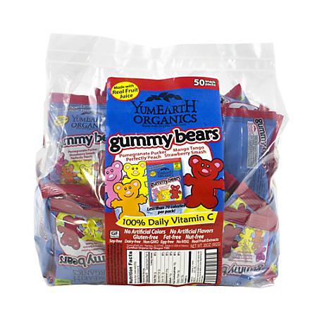 Yummy Earth Organic Gummy Bear Snack Packs, Pack Of 50