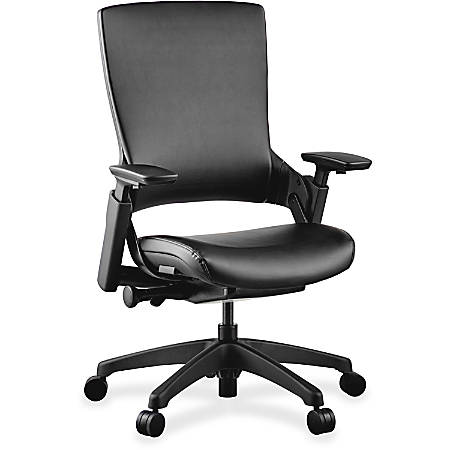 Lorell® Serenity Series Executive Multifunction High-Back Chair, Leather, Black