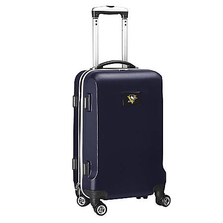 "Denco 2-In-1 Hard Case Rolling Carry-On Luggage, 21""H x 13""W x 9""D, Pittsburgh Penguins, Navy"