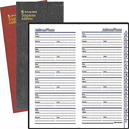 "AT-A-GLANCE® Telephone/Address Book, 3 1/8"" x 6"", Assorted Colors (No Color Choice)"